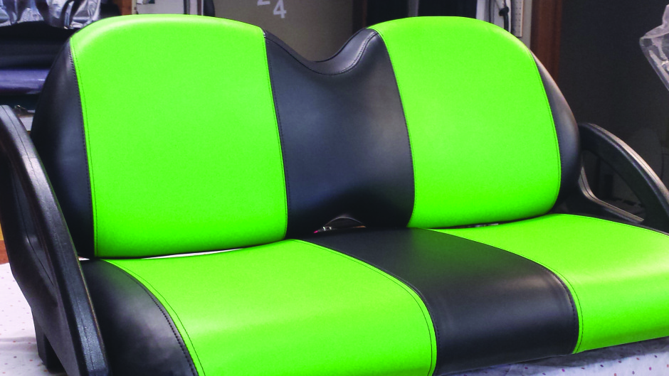 Golf cart seats re-upholsterd in our shop at R-Custom Fabric Products.