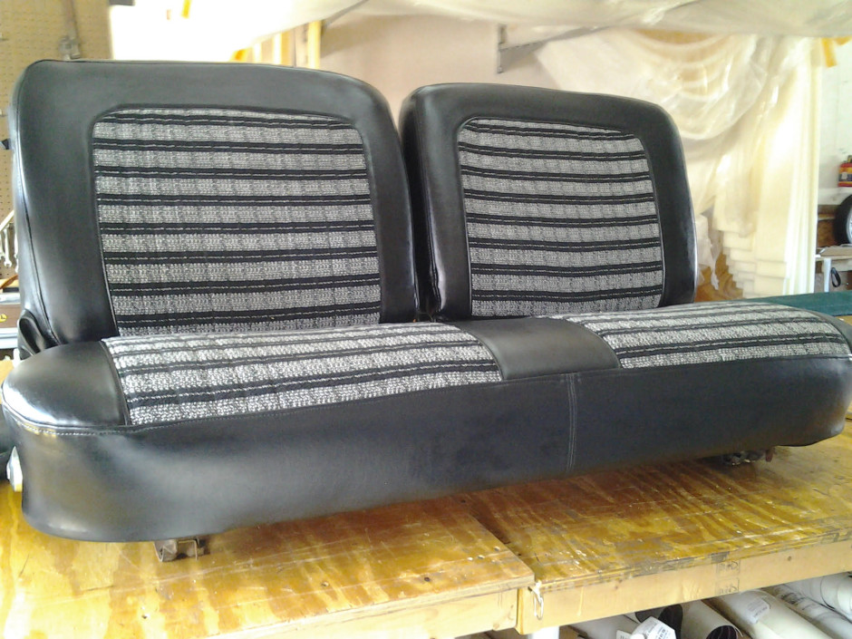 Original golf cart seats R-Custom Fabric Products re-designed and re-upholstered.